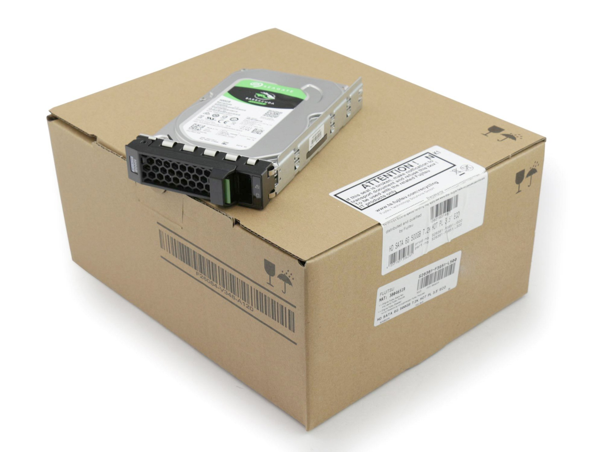 Fujitsu 10601931487 Server Festplatte HDD 500GB (3,5 Zoll / 8,9 cm) S-ATA III (6,0 Gb/s) ECO 7.2K inkl. Hot-Plug