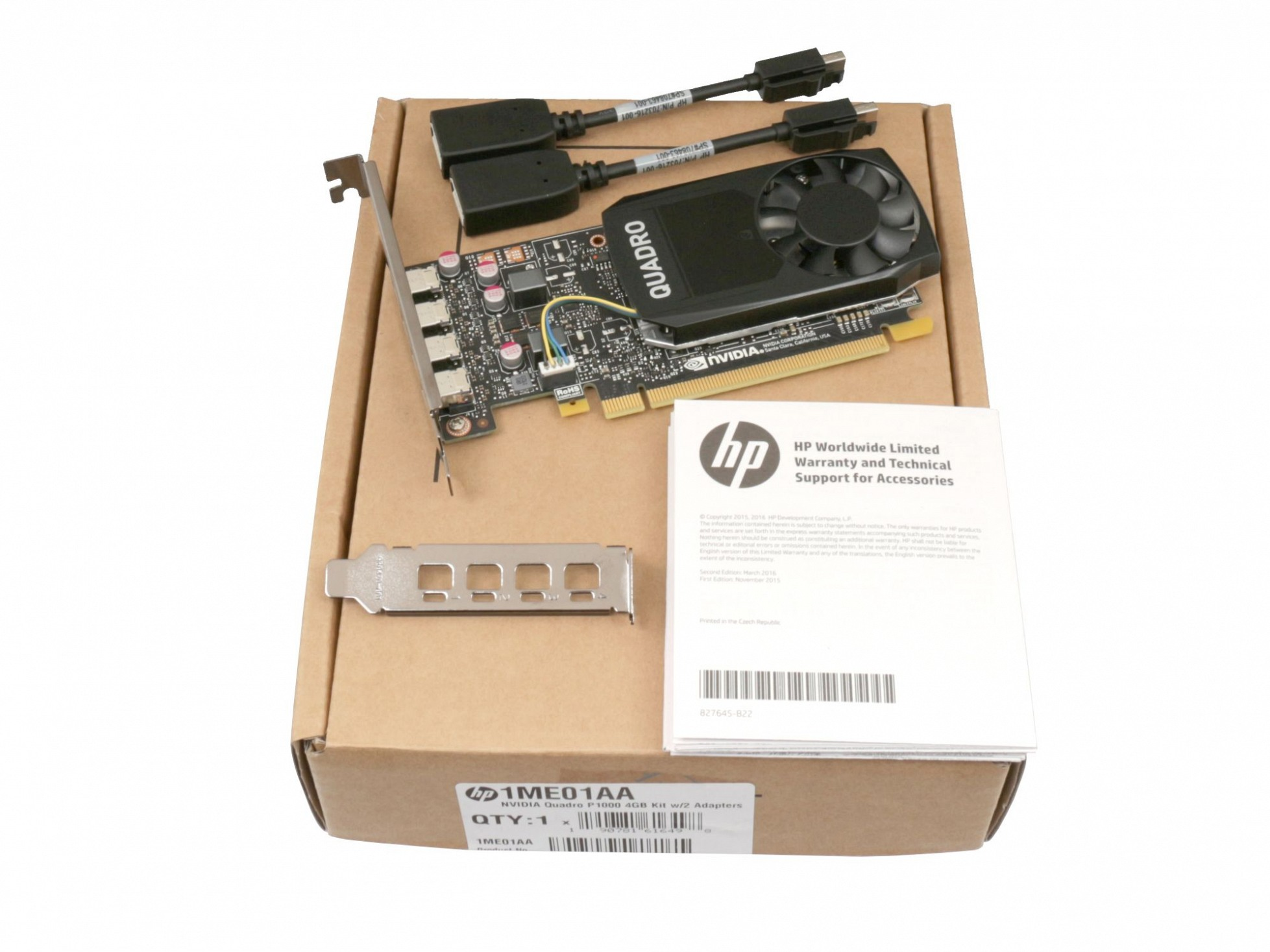 HP Grafikkarte nVidia Quadro P1000 1st GFX 4GB für HP Z8 G4 Workstation Serie