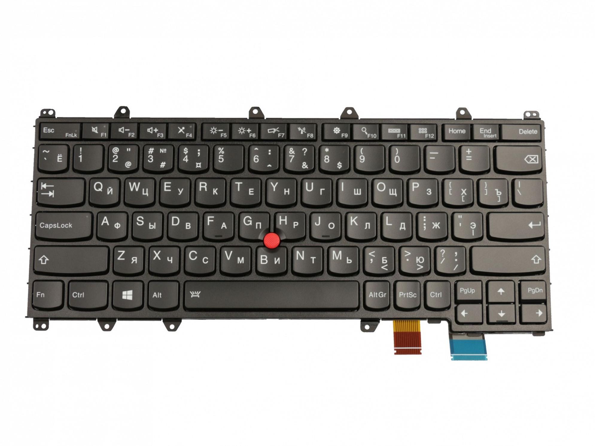 Lenovo STO-83SU Tastatur RU (russisch) schwarz/schwarz mit Backlight und Mouse-Stick Original
